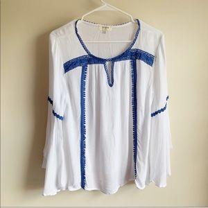 Umgee Blue White Boho Crochet Bell Sleeve Blouse